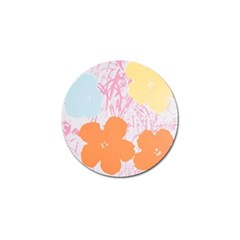 Flower Sunflower Floral Pink Orange Beauty Blue Yellow Golf Ball Marker