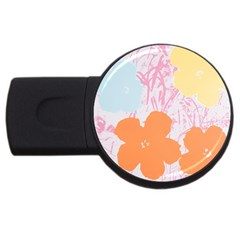 Flower Sunflower Floral Pink Orange Beauty Blue Yellow Usb Flash Drive Round (2 Gb) by Mariart