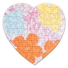 Flower Sunflower Floral Pink Orange Beauty Blue Yellow Jigsaw Puzzle (heart) by Mariart