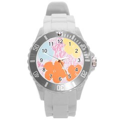 Flower Sunflower Floral Pink Orange Beauty Blue Yellow Round Plastic Sport Watch (l) by Mariart