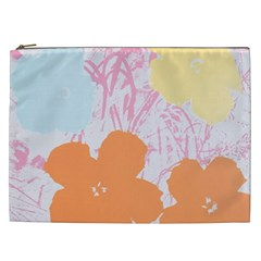 Flower Sunflower Floral Pink Orange Beauty Blue Yellow Cosmetic Bag (xxl)  by Mariart