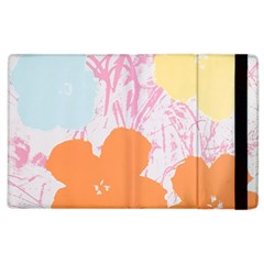 Flower Sunflower Floral Pink Orange Beauty Blue Yellow Apple Ipad 3/4 Flip Case by Mariart