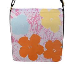 Flower Sunflower Floral Pink Orange Beauty Blue Yellow Flap Messenger Bag (l)  by Mariart