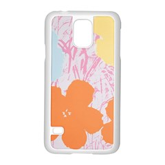 Flower Sunflower Floral Pink Orange Beauty Blue Yellow Samsung Galaxy S5 Case (white) by Mariart