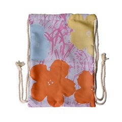 Flower Sunflower Floral Pink Orange Beauty Blue Yellow Drawstring Bag (small)
