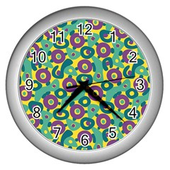 Discrete State Turing Pattern Polka Dots Green Purple Yellow Rainbow Sexy Beauty Wall Clocks (silver)  by Mariart