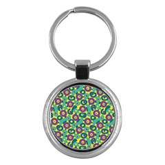 Discrete State Turing Pattern Polka Dots Green Purple Yellow Rainbow Sexy Beauty Key Chains (round)  by Mariart