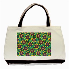 Discrete State Turing Pattern Polka Dots Green Purple Yellow Rainbow Sexy Beauty Basic Tote Bag (two Sides) by Mariart