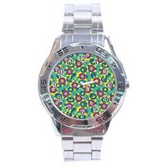 Discrete State Turing Pattern Polka Dots Green Purple Yellow Rainbow Sexy Beauty Stainless Steel Analogue Watch by Mariart