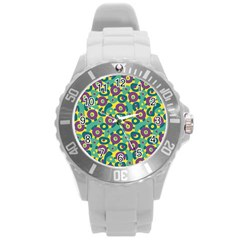 Discrete State Turing Pattern Polka Dots Green Purple Yellow Rainbow Sexy Beauty Round Plastic Sport Watch (l) by Mariart