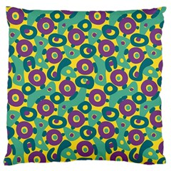 Discrete State Turing Pattern Polka Dots Green Purple Yellow Rainbow Sexy Beauty Large Flano Cushion Case (one Side) by Mariart