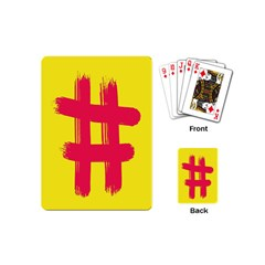 Fun Ain t Gone Fence Sign Red Yellow Flag Playing Cards (mini)  by Mariart