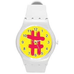 Fun Ain t Gone Fence Sign Red Yellow Flag Round Plastic Sport Watch (m) by Mariart