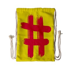 Fun Ain t Gone Fence Sign Red Yellow Flag Drawstring Bag (small) by Mariart
