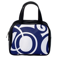 Garamond Blue White Wave Chevron Classic Handbags (one Side) by Mariart