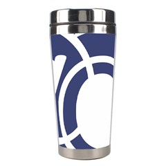 Garamond Blue White Wave Chevron Stainless Steel Travel Tumblers by Mariart