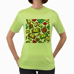 Friends Library Lobby Book Sale Women s Green T Shirt by Mariart