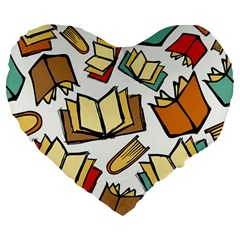 Friends Library Lobby Book Sale Large 19  Premium Flano Heart Shape Cushions by Mariart