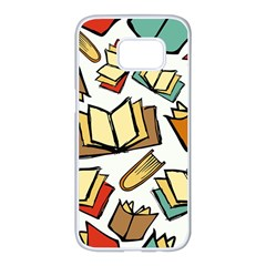 Friends Library Lobby Book Sale Samsung Galaxy S7 Edge White Seamless Case by Mariart