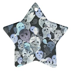 Ghosts Blue Sinister Helloween Face Mask Ornament (star)