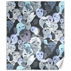 Ghosts Blue Sinister Helloween Face Mask Canvas 8  X 10  by Mariart