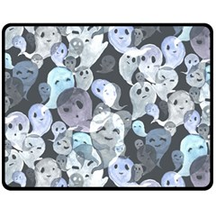 Ghosts Blue Sinister Helloween Face Mask Fleece Blanket (medium)  by Mariart