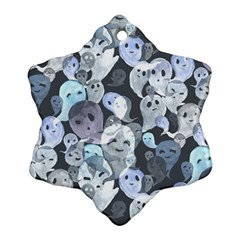 Ghosts Blue Sinister Helloween Face Mask Snowflake Ornament (two Sides) by Mariart