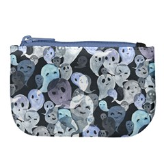 Ghosts Blue Sinister Helloween Face Mask Large Coin Purse by Mariart