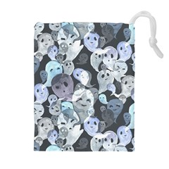 Ghosts Blue Sinister Helloween Face Mask Drawstring Pouches (extra Large)