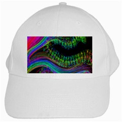 Aurora Wave Colorful Space Line Light Neon Visual Cortex Plate White Cap by Mariart