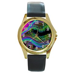 Aurora Wave Colorful Space Line Light Neon Visual Cortex Plate Round Gold Metal Watch by Mariart