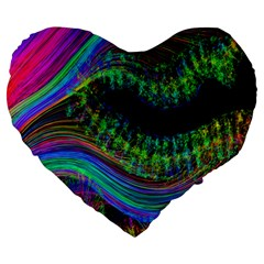 Aurora Wave Colorful Space Line Light Neon Visual Cortex Plate Large 19  Premium Heart Shape Cushions by Mariart