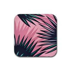 Graciela Detail Petticoat Palm Pink Green Rubber Square Coaster (4 Pack)  by Mariart