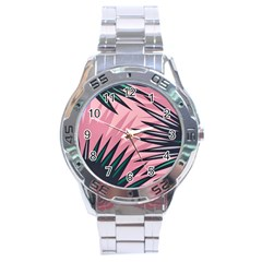 Graciela Detail Petticoat Palm Pink Green Stainless Steel Analogue Watch by Mariart