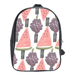 Grapes Watermelon Fruit Patterns Bouffants Broken Hearts School Bag (large)