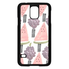 Grapes Watermelon Fruit Patterns Bouffants Broken Hearts Samsung Galaxy S5 Case (black) by Mariart