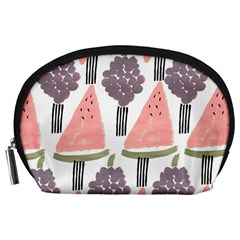 Grapes Watermelon Fruit Patterns Bouffants Broken Hearts Accessory Pouches (large)  by Mariart