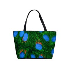 Fluorescence Microscopy Green Blue Shoulder Handbags by Mariart