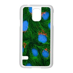 Fluorescence Microscopy Green Blue Samsung Galaxy S5 Case (white) by Mariart