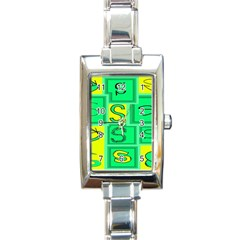 Letter Huruf S Sign Green Yellow Rectangle Italian Charm Watch by Mariart