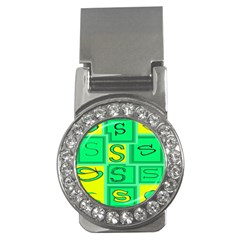 Letter Huruf S Sign Green Yellow Money Clips (cz)  by Mariart