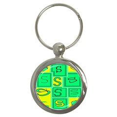 Letter Huruf S Sign Green Yellow Key Chains (round)  by Mariart