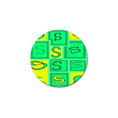 Letter Huruf S Sign Green Yellow Golf Ball Marker by Mariart