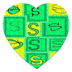 Letter Huruf S Sign Green Yellow Jigsaw Puzzle (heart) by Mariart