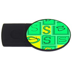 Letter Huruf S Sign Green Yellow Usb Flash Drive Oval (4 Gb) by Mariart