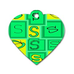 Letter Huruf S Sign Green Yellow Dog Tag Heart (two Sides) by Mariart
