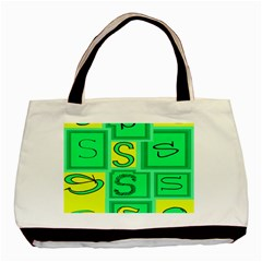 Letter Huruf S Sign Green Yellow Basic Tote Bag (two Sides) by Mariart