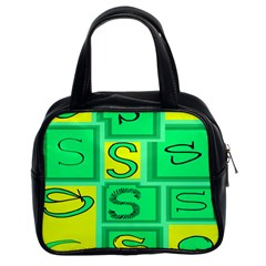Letter Huruf S Sign Green Yellow Classic Handbags (2 Sides) by Mariart