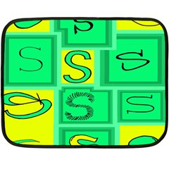 Letter Huruf S Sign Green Yellow Double Sided Fleece Blanket (mini)  by Mariart