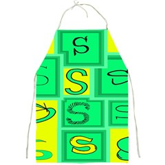 Letter Huruf S Sign Green Yellow Full Print Aprons by Mariart